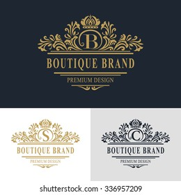 Monogram design elements, graceful template. Calligraphic elegant line art logo design. Letter emblem sign B, S, C for Royalty, business card, Boutique, Hotel, Heraldic, Jewelry. Vector illustration
