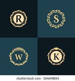 Monogram design elements, graceful template. Elegant line art logo design. Emblem Letter R, S, W, K. Retro Vintage Insignia or Logotype. Business sign, identity, label, badge, Cafe, Hotel. Vector
