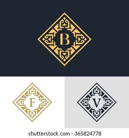 Monogram design elements, graceful template. Calligraphic elegant line art logo design. Letter emblem sign B, F, V for Royalty, business card, Boutique, Hotel, Heraldic, Jewelry. Vector illustration