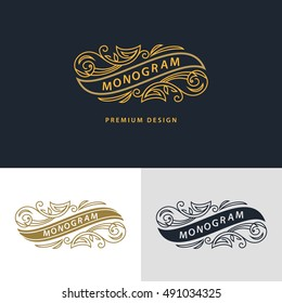 Monogram design elements, graceful template. Calligraphic elegant line art logo design. Frame emblem sign for Royalty, business card, Boutique, Hotel, Heraldic, Wine, Jewelry. Vector illustration