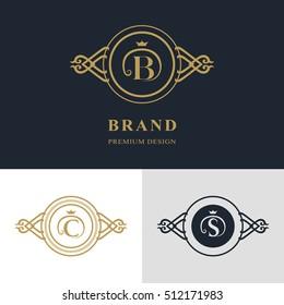 Monogram design elements, graceful template. Calligraphic elegant line art logo design. Letter emblem sign B, C, S for Royalty, business card, Boutique, Hotel, Heraldic, Jewelry. Vector illustration