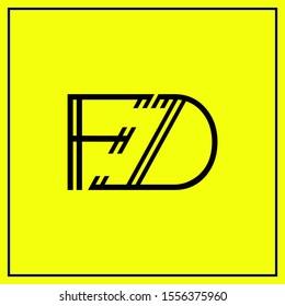 monogram design letters FD, F, D, DF logo design vector - minimal logo