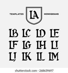 Monogram design template with combinations of capital letters LA LB LC LD LE LF LG LH LI LJ LK LL LM. Vector illustration.