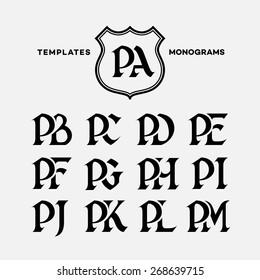 Monogram design template with combinations of capital letters PA PB PC PD PE PF PG PH PI PJ PK PL PM. Vector illustration.