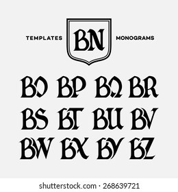 Monogram design template with combinations of capital letters BN BO BP BQ BR BS BT BU BV BW BX BY BZ. Vector illustration.