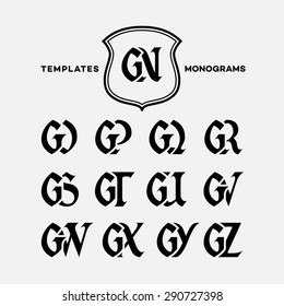 Monogram design template with combinations of capital letters GN GO GP GQ GR GS GT GU GV GW GX GY GZ. Vector illustration.