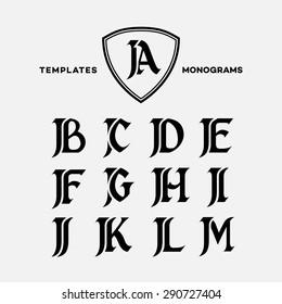 Monogram design template with combinations of capital letters JA JB JC JD JE JF JG JH JI JJ JK JL JM. Vector illustration.