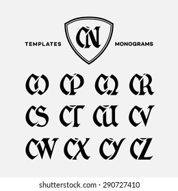 Monogram design template with combinations of capital letters CN CO CP CQ CR CS CT CU CV CW CX CY CZ. Vector illustration.