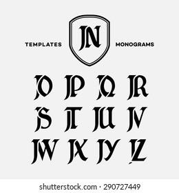 Monogram design template with combinations of capital letters JN JO JP JQ JR JS JT JU JV JW JX JY JZ. Vector illustration.
