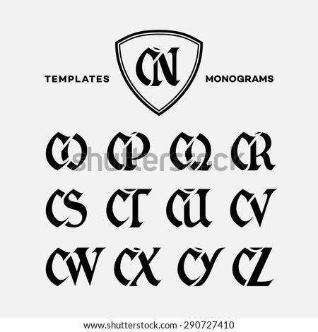 Monogram Design Template Combinations Capital Letters Stock Vector