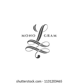 Monogram design template of letter L on a white background. Vector illustration.