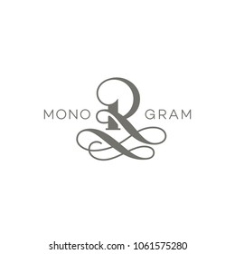 Monogram design template of letter R. Vector illustration.