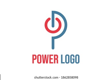 """Monogram flat vector logo element with illustration power button forming initials """"P"""" or """"PO"""" or """"OP"""". Usable for Technology logos, Electronics and general business logos"""