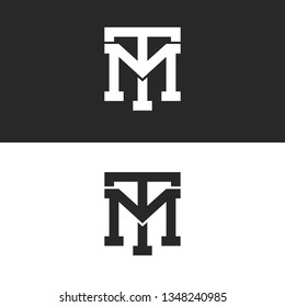 Monogram hipster initials TM logo letters set, overlapping two bold letters T M alliance, linear weaving mark MT for business card emblem