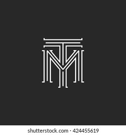 Monogram hipster initials TM logo letters, overlapping connection couple merger T M letters thin lines, combination two linear weaving symbol for wedding invitation emblem