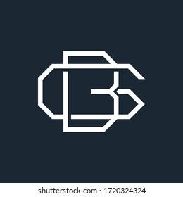 monogram initial GB BG logo design