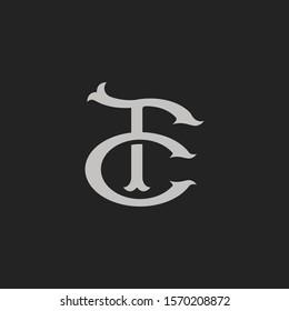 Monogram Initial Letter FC / CF Hipster Lettermark Logo For Branding or T shirt Design