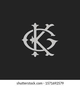 Monogram Initial Letter GK or KG Logo Template Design