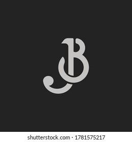 Monogram Initial Letter JB or BJ Hipster Lettermark Logo For Branding
