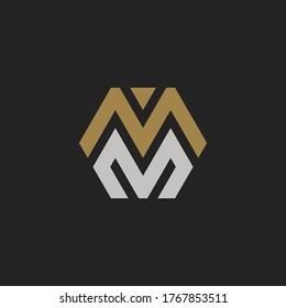 Monogram Initial Letter M + Letter M Hipster Lettermark Logo For Branding or T shirt Design