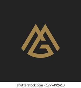 Monogram Initial Letter MG / GM Hipster Lettermark Logo Design