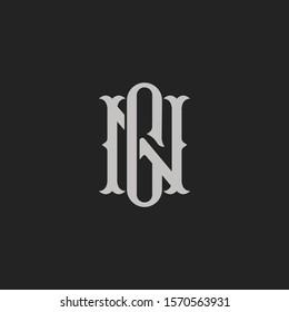 Monogram Initial Letter NG or GN Hipster Lettermark Logo For Branding or T shirt Design