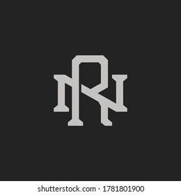 Monogram Initial Letter NR / RN Vintage Logo Design For Branding or T shirt Design