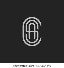 Monogram Initial Letter A + Letter S + Letter C Hipster Lettermark Logo For Branding or T shirt Design