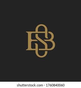 Monogram Initial Letter SB / BS Hipster Lettermark Logo For Branding or T shirt Design