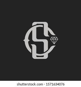 Monogram Initial Letter SC or CS Diamond concept Logo Template Design