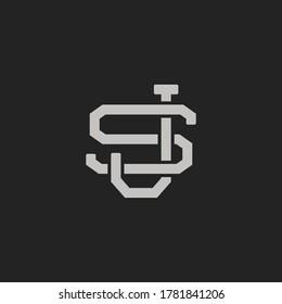 Monogram Initial Letter SJ / JS Vintage Logo Design For Branding