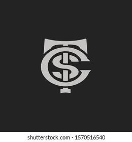 Monogram Initial Letter T + Letter S + Letter C Hipster Lettermark Logo For Branding or T shirt Design