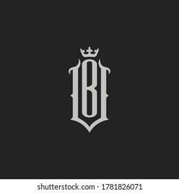 Monogram Initial Letter VB or BV Vintage Logo Design For Branding