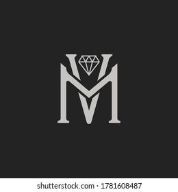 Monogram Initial Letter VM or MV Diamond concept Logo Template Design