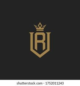Monogram Initial Letter VR or RV Hipster Lettermark Logo Design