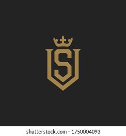 Monogram Initial Letter VS or SV Hipster Lettermark Logo For Branding Design