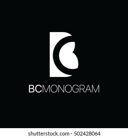 Monogram of initial letters b and c in negative space uppercase monogram logo black and white