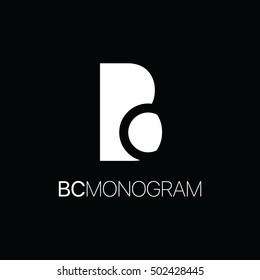 Monogram of initial letters b and c in negative space logo black and white