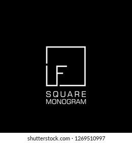 Monogram initial LF / F Logo design with square frame line art. vector illustration