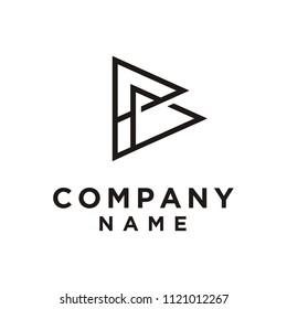 Monogram / Initials B or PB with Pennant Triangle Shape logo design inspiration