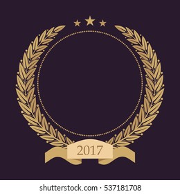 Monogram initials. Golden laurel wreath. Empty space for text. Template for awards, quality mark, diplomas and certificates.