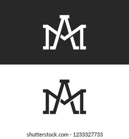 Monogram initials AM or MA letters logo design mockup, overlapping two capital letters A and M creative trendy wedding emblem
