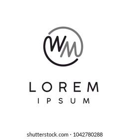 Monogram Initials MW WM, Letter W M Circular logo design