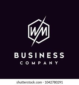 Monogram Initials MW WM, Letter M W Hexagon logo design