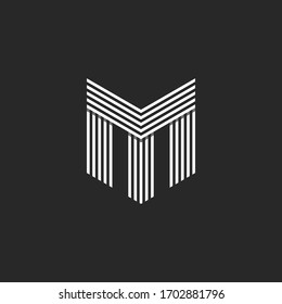 Monogram initials TM or MT letters logo, overlapping two letter M and T business card identity emblem, black and white offset parallel lines