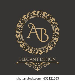 Monogram from intertwining letters AB in elegant flower frame. Baroque style. Place for text. Golden template for cafe, bars, boutiques, invitations. Logo for business. Vintage elements. Vector