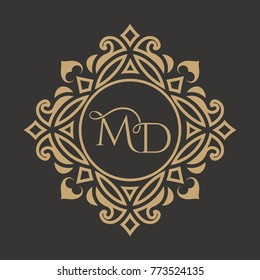 The monogram from the intertwining letters MD in an elegant gold frame. The place for the text. A template for cafe, bars, boutiques, invitations, sights. A logo for business. Vintage elements