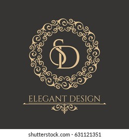 Monogram from intertwining letters SD in elegant flower frame. Baroque style. Place for the text. Golden template for cafe, bars, boutiques, invitations. Logo for business. Vintage vector elements