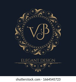 Monogram from the intertwining letters VB in elegant flower frame. Baroque style. Golden template for cafe,bars,boutiques,invitations.Logo for business.Vintage elements of design.Vector illustration.