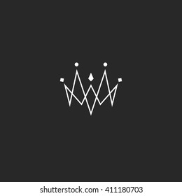 Monogram jewel crown logo, jewelry emblem mockup, linked thin lines style